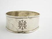 Antique 1915 Hallmarked Sterling Silver Napkin Ring Monogrammed (Worn) (E)