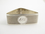 Art Deco 1929 Hallmarked Sterling Silver Napkin Ring Engraved 491 Saunders and MacKenzie
