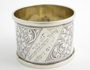 Antiqie 1900 Hallmarked Sterling Silver Napkin Ring  Edward Eccleston Potts Nov 7 01