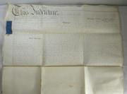 2 Page Antique 1849 Leather Legal Vellum Spilsby Lincolnshire Reverend Pattinson & Starmer Hogsthorpe