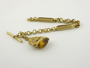 Vintage Yellow Metal Pocket Watch Chain with Fob and T Bar