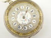 Antique  Fancy Late 1800s H Peck London Swiss Hallmarked Fine Silver Applied Gold Dial Pocket Watch