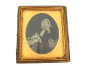1800s Victorian Ambrotype Photograph of Victorian Seated Lady