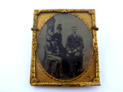1800s Victorian Ambrotype Photograph of Two Ladies and a Man