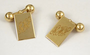 Vintage Pair of Art Deco 9ct Gold Cufflinks Monogrammed RHP