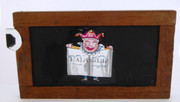 Mid 1800s Hand Painted Glass Magic Slide in Cedar Frame  SILENCE PLEASE