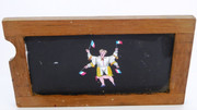 Mid 1800s Hand Painted Glass Magic Slide in Cedar Frame  Man Waving French Flags