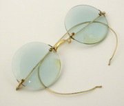 Early Antique Late 1800s Gold Plated Glasses with Tinted Blue Glass
