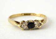 Vintage 9ct Gold Hallmarked 1983 Ring Set with Diamonds and Sapphire Size K 1/2
