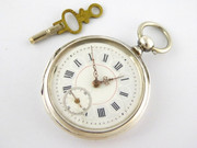 Antique  Late 1800s Enamel Dial Pocket Watch Inscribed W or H Berher