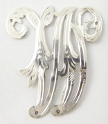 1900s - 1920s Antique Solid Silver Letter 'W' 32mm with Silversmith's stamp Other Letters Available