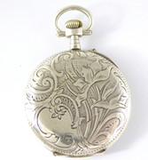 Antique Art Nouveau 1900s Pocket Watch Fancy Floral Back  Enamel Dial