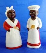 Vintage Large Japanese  Black Americana Chef & Mama Salt And Pepper Shakers 20cm Tall