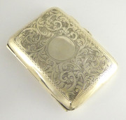 Antique 1911 Solid Sterling Silver Cigarette Case made by Smith & Bartlam