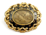 Beautiful Antique 1800s Gold & Black Mourning Enamel Victorian Memorial Brooch