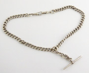 Antique Hallmarked Sterling Silver Double Albert Pocket Watch Chain