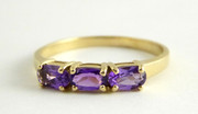 9ct Gold Ring Set with Three Oval Amethyst Size P 1/2