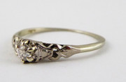 Hallmarked 18ct White Art Deco Gold Ring Set with Small Solitary Diamond Size m 1/2