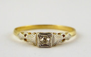 Hallmarked 18ct Art Deco Gold Ring Set with Small Solitary Diamond Size O