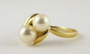 Vintage Gold Ring with Pearls Size U 1/2