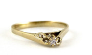 Hallmarked 18ct Gold Ring Set with Diamonds Size R