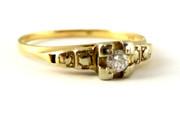 Vintage 14ct Gold Ring with Diamond Illusion Set Size P
