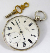 Late 1800s Antique Fine Silver W Kibble 22 Gracechurch st London Pocket Watch with Key Wound Movement A/F