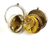Antique Hallmarked 1794 Fusee Verge Sterling Silver Pair Case Pocket Watch Milton Dublin