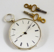 Antique  Late 1800s French Mechanical Silver Pocket Watch