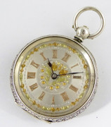Hallmarked Swiss  .935 Silver Fancy  Applied Gold Dialed Antique Pocket Fob Watch