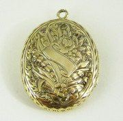 Antique Gold Gilt  Photo Locket Pendant with Floral Engraving $120