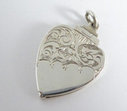 Vintage Sterling Silver Photo Heart Shaped Locket Pendant