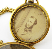 Antique Gold Plated Mourning Photo Locket Pendant & Chain