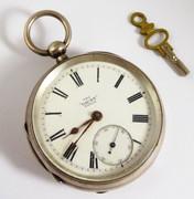 Antique 1876 Sterling Silver Gaunt Pocket Watch 1900 Inscription T&GE Fiddler