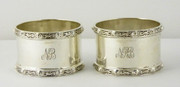 Pair of 1938 Art Deco Sterling Napkin Rings Dragon Pattern NRB NB