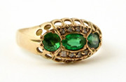 Antique 1909  Hallmarked 9ct Gold Ring Set with Green Paste and Diamond Setting Size L 1/2