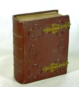Antique 1860s Victorian Leather Photograph Album with Photos Sir Daniel Gooche