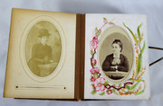 Antique 1860s Victorian Leather Photograph Album with Photos