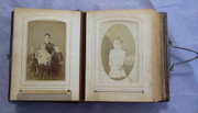 Antique  1890s Victorian Leather Photograph Album with Photos