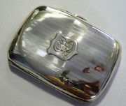 Antique Monogrammed Art Deco 1923 Sterling Silver Cigarette Case