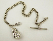 Antique Solid Sterling Silver Pocket Watch Chain with 1913 silver Billiken Charm