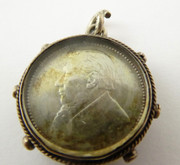 Antique Silver  Fob Compass for a Fob Chain with a South African Boer 1896 '6' ZAR Coin