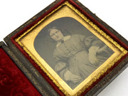 1800s Victorian Ambrotype Photograph on Glass in Leather Case