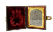 1800s Victorian Ambrotype Photograph of Lady on Glass in Leather Case