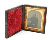 1800s Victorian Ambrotype Glass Photograph of Gent in Leather Case