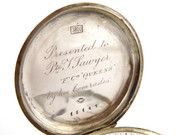 Antique Full Hunter Silver Pocket Watch Military Inscription T Sawyer Queens Regiment
