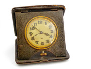 Large 1900s Pocket Watch Leather Travel Case 8 Day Alarm Clock