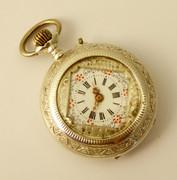 1800s Fancy Silver Fancy Antique Pocket Fob Watch Needs Work
