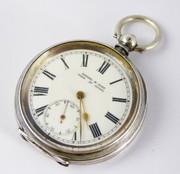 Swiss  .935 Silver Pocket Watch Kendel & Dent London Made in Bienne Switzerland