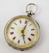 1800s Fancy .935 Swiss Silver Fancy Antique Pocket Fob Watch Needs  Work